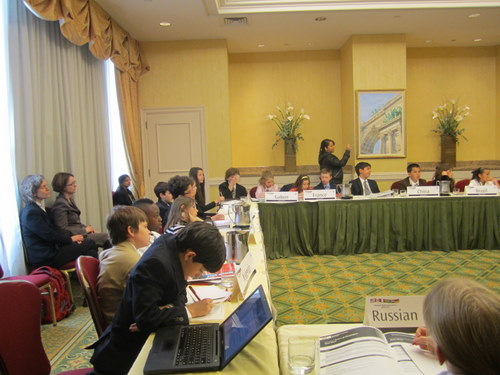 Elementary school Security Council delegates discuss weapons on mass destruction