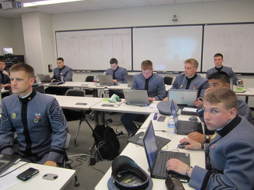 Cadets working away in WPSC's crisis room