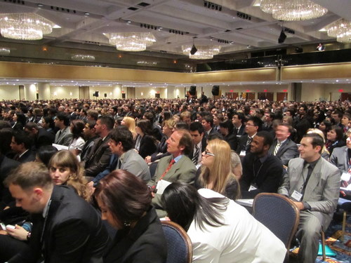 NMUN draws over 5,000 delegates, split across 2 venues -- the opening ceremonies room was packed!