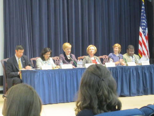 Left to Right: Patrick Madden, UNA-USA Executive Director; Paula Boland, UNA-National Capital Area Executive Director; Ann Stock, Assistant Secretary of State for Education & Cultural Affairs; Carey Wright, Chief Academic Office of DC Public Schools; Jill Ruchala, GCDC Global Education Director; Jose Mercedez, GCDC Secretary-General