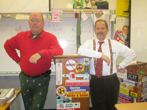Mira Costa Advisors Bob Timberlake and Wayne Knutson decked out in Christmas swag