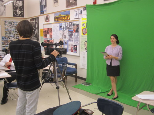 The crisis staff had access to a green screen that they used to make crisis videos