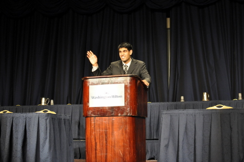 Arun Avva, Chief Executive Officer of the Georgetown International Relations Association, kicked off opening ceremonies