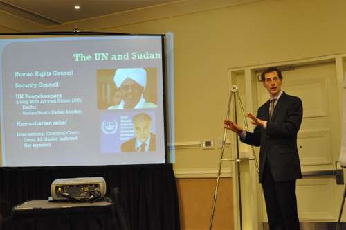 Mark Lagon speaks with the UN Human Rights Council