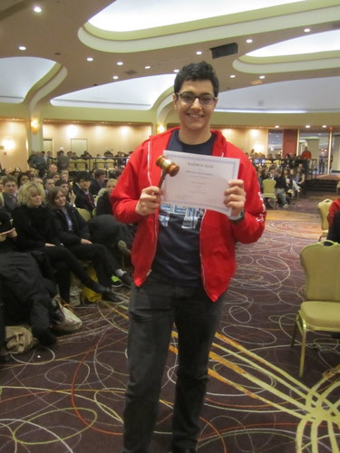 Stuyvesant High School received Best Delegate in the Arab League committee