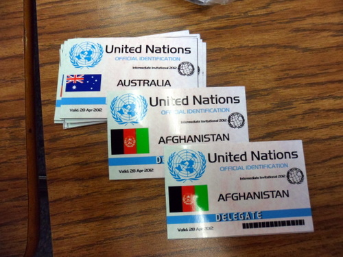 RSM/THHS MUN Advisor Raj Rajadhyaksha paid special attention to detail for the conference's name badges