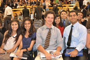 Best Delegate Academy alum Reed MacDonald and members of the Gahr High School Model UN team are excited about Closing Ceremony