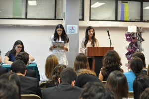 Delegates read off their opening speech in the International Forum on Domestic Violence