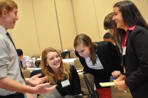 Delegates enjoy a lighter moment during a busy unmoderated caucus in the Chilean Senate 1970