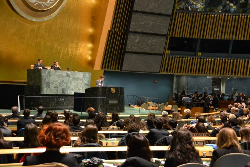 Secretary General, Alessandro Dimaiuta opens the conference in the UN General Assembly Hall.