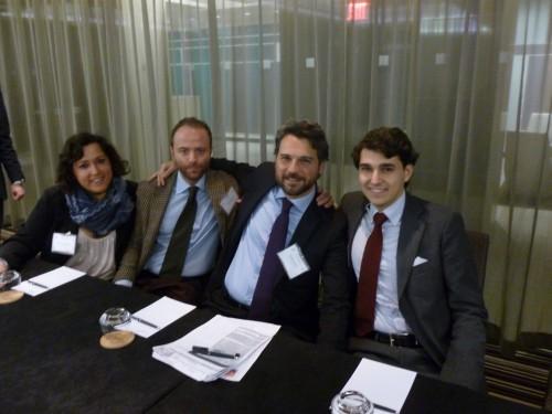 Conference Secretariat pose alongside Claudio Corbino, President of Associazione Diplomatici