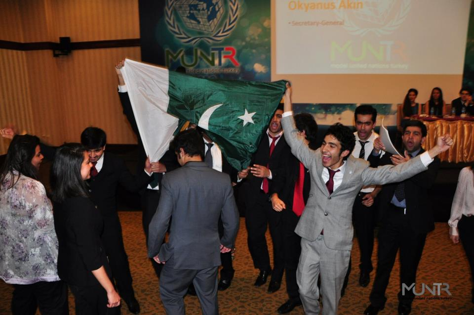 Team Pakistan LUMS rejoicing at their win in MUNTR