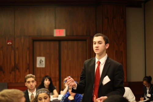 A delegate emphasizing a point in committee.