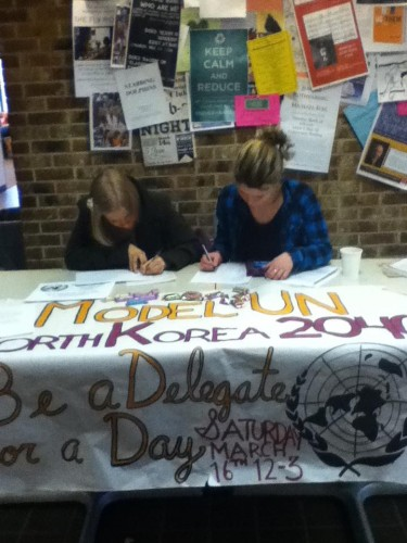 "Mondshein (right) and delegate,Anna Stafeyeva, register delegates for Bard's first ""Conference for a Day"""