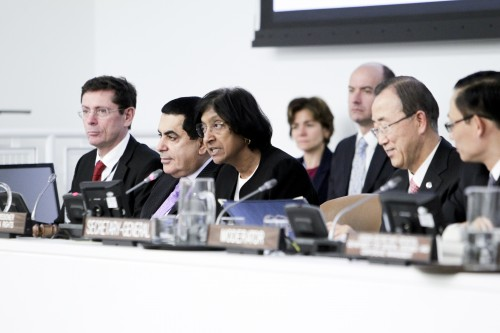 Navi Pillay, United Nations High Commissioner for Human Rights, speaks at the treaty body strengthening consultations for States party to international human rights treaties held by the Economic and Social Council (ECOSOC) today. On stage, from left to right are: Ivan Simonovic, Assistant Secretary-General in the Office of the High Commissioner for Human Rights; Nassir Abdulaziz Al-Nasser, President of the General Assembly; Ms. Pillay; and Secretary-General Ban Ki-moon.