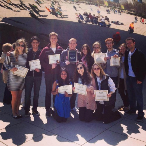 BU's 2012-2013 team at ChoMUN XVI with their Outstanding Delegation hardware.