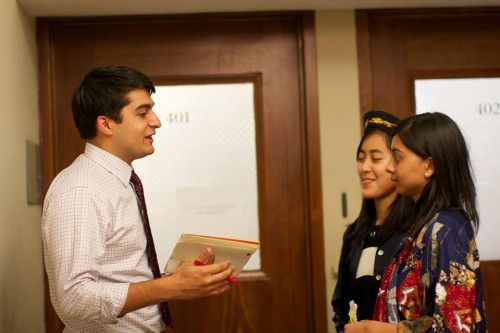 Neal Chhabra from William & Mary, talks to crisis staffers in the ISI 1977 committee.