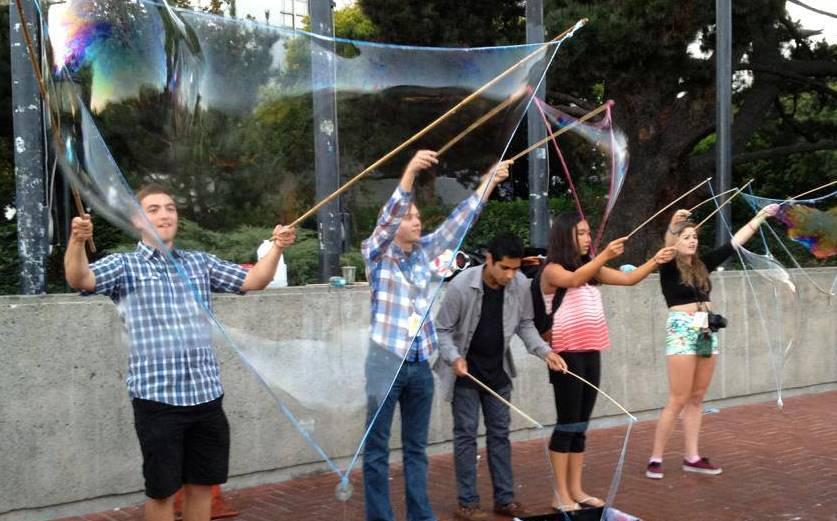 During Berkeley Night, Delegates got to experience the city of Berkeley, featuring an opportunity to create giant bubbles with street entertainers.