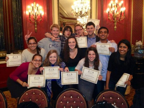 The ChoMUN 2013 delegation from Emory poses with their awards