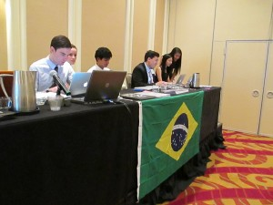 The dais of the Federal Senate of Brazil overseeing delegates breaking off into groups by political affiliation