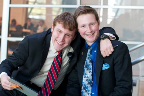 Georgetown Head Delegate Sam Brothers and GW Head Delegate Jared Greenspan pose for a quick photo before hashing out a committee strategy.