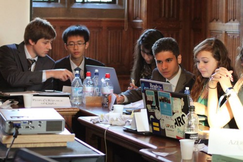 Melissa Miller, right , participates in the UNSC at OxiMUN (Photo Courtesy of Melissa Miller)
