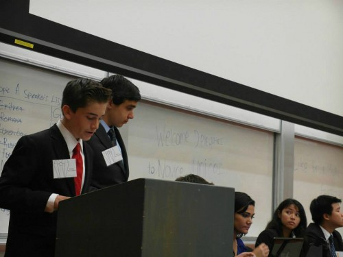 "Delegates in Novice DISEC make a speech. BruinMUN's Novice committees were aimed to be ""more developmental than competitive""."
