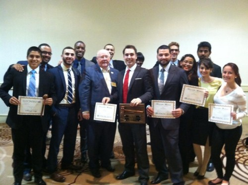 The Florida International University team poses with their Outstanding Small Delegation honors.