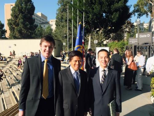 MUN President Mark Warwick, keynote speaker Kantathi Suphamongkhon, and BruinMUN Secretary-General Patrick Donovan.