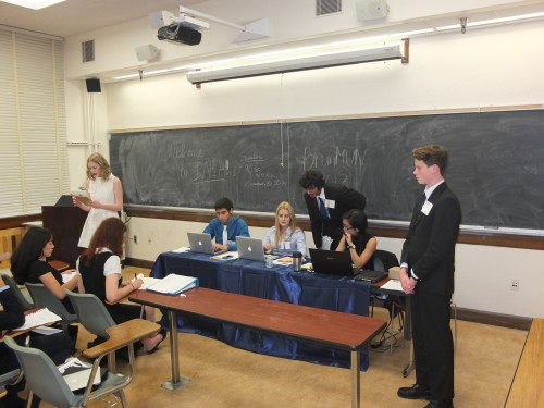 Co-delegates get ready to make a speech in the IAEA.
