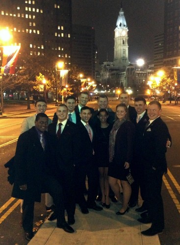 The USMA team poses at delegation dinner. West Point took home Best Small Delegation (Photo Courtesy of Brandon Moore)