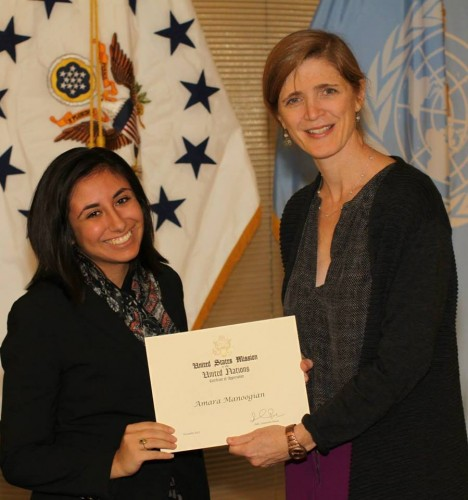 Mari with US Ambassador to the United Nations, Samantha Power.