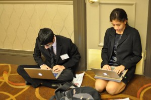 Two delegates are able to work simultaneously on their resolution by using their laptops.