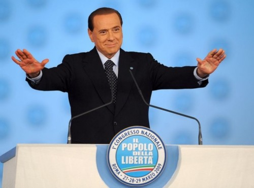Silvio Berlusconi uses the Palm Down gesture frequently in his speeches.