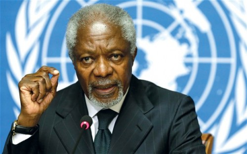 Kofi Annan using you the fingertip-touch
