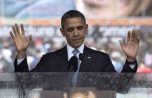 Barack Obama speaking at Nelson Mandela's memorial service