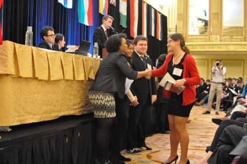 MUNUC has an academic focus, and Outstanding Delegates receive a book instead of a gavel.