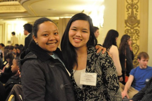 Two Chicagoland MUN Club delegates smile for the camera!
