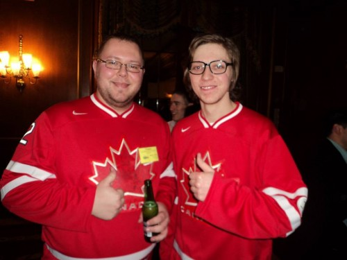 Delegates from the University of Lethbridge, in Alberta, Canada, show off their Canadian pride.