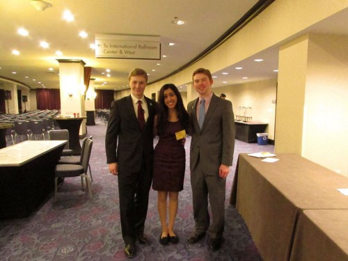 Best Delegate Media Associate Nikita Barde with Director of Philanthropy Brian Cunningham and Director of Technology Ryan Cunningham