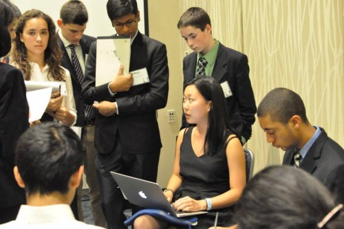 Delegates collaborate on a resolution in the UN Millennium Summit