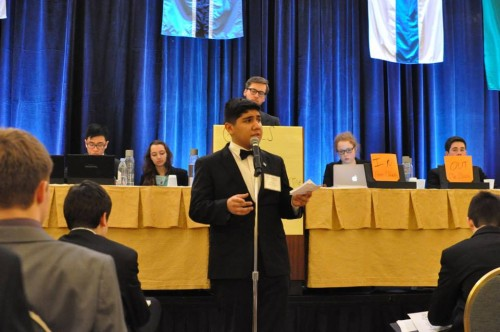 Israel (Lincoln Park High School) makes a speech in ECOFIN