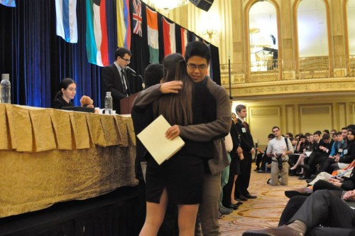 The committee environment is cordial at MUNUC and delegates from different schools embraced during the awards ceremony