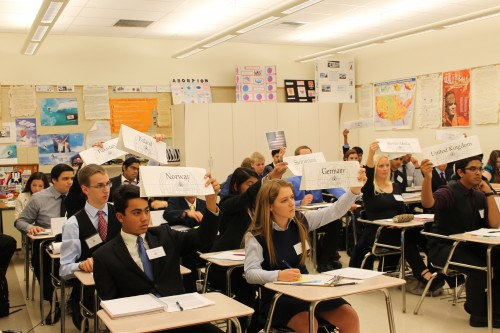 Delegates in Ad Hoc on Terrorism vote on a moderated caucus