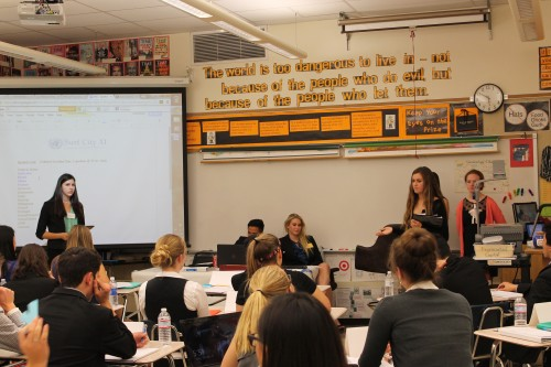 Delegates representing Germany (Santa Margarita) make a speech in Historical Security Council