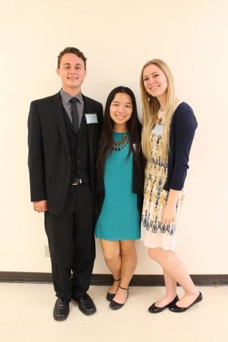 Secretary-General Melanie Lin  (center) and Under Secretary-Generals Kevin Cruze (left) and Paige Petrashko (right)