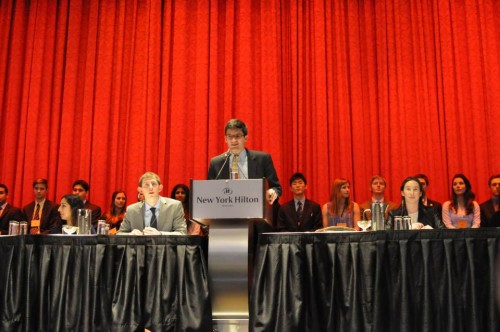 Secretary-General CJ Stavrakos reflects on NHSMUN's 40th anniversary during Opening Ceremonies