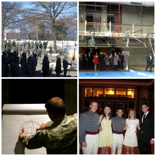 Clockwise from bottom left: Cadet Danny Freeman teaching delegates about targets at the electronic shooting range; cadets outside the mess hall for formation; a cadet demonstrating the IOCT in Arvin; delegates and cadets enjoying the gala