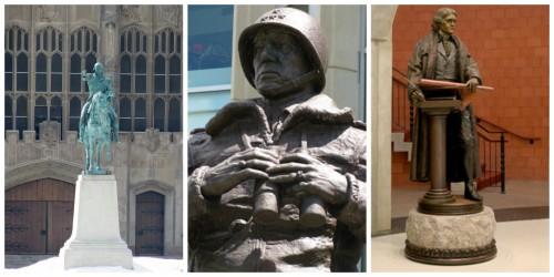 Washington, Patton, and Jefferson Statues