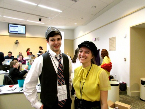 Under Secretaries-General Collin Jones (left) and Eleanor Trott (right) pose in crisis gear at the &MUN staff headquarters.
